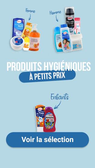 Produits hygiéniques à petits prix