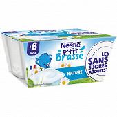 Nestlé Nestle ptit brassé nature sans sucre ajouté 4x100g
