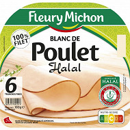 Fleury michon 6 tranches fines blanc de poulet doré au four halal 180 g