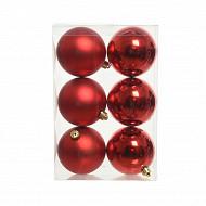 Boite de 6 boules plastique d8cm rouge mat/ brillant