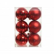 Boite de 12 boules  plastique rouge mat, brillant d6cm