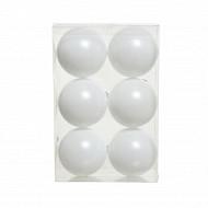 Boite de 6 boules plastique d8cm blanc