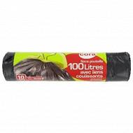 Cora sacs poubelles x10 liens coulissants 100l