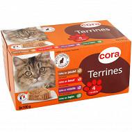 Cora terrine riches en viande pour chat 8 x 100g