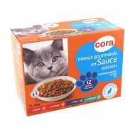 Cora 12 menus gourmands en sauce au poisson pour chat 1200g