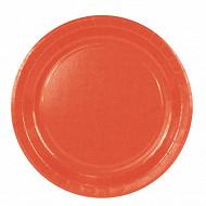 Cora assiettes x20 orange rondes 23cm