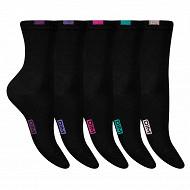 Lot de 5 paires de mi chaussettes unies femme Ecodim NOIR 37\41