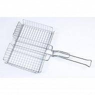 Verciel grille double 32x25cm ajustable acier chromé manche métal