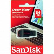 SanDisk Clé usb 2.0 cruzer blade 64gb noir/rouge
