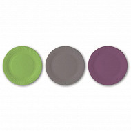 Cora assiettes x75 gris / anis / violet 15cm