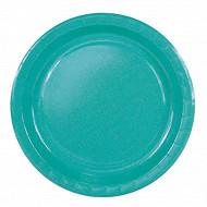 Cora assiettes x20 rondes bleu turquoise 23cm