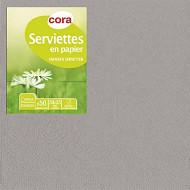 Cora serviettes x50 gris argent 33x33cm 2 plis