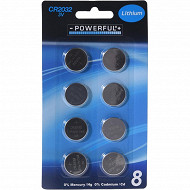 8 piles boutons CR2032