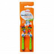 Cora kido tête brosse à dents électrique universelle enfant x2