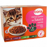 Cora menus gourmands pour chat junior 12 x 100 g