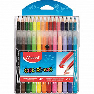 Maped 15 crayons de couleur + 12 feutres