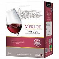 L'âme du terroir vin de pays d'OC  Merlot rouge poche 5 litres 13% Vol.
