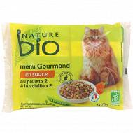 Nature bio menu gourmand en sauce  au poulet et à la volaille 4x100g