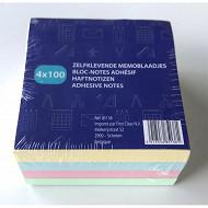 Bloc adhésif 4X100 feilles 75x75 mm couleurs assorties 85138