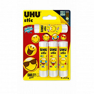 Uhu lot de 4 stic blanc 8.2g smiley