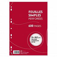 Feuilles simples blanches perforées 21x29.7 cm  600 pages grands carreaux