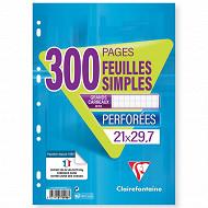 Clairefontaine feuilles simples perforées 21x29.7 cm 300 pages seyes