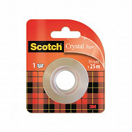 Scotch - Ruban adhésif super transparent 25 mètres x19mm rouleau recharge