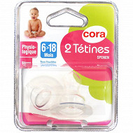 2 tétines physiologiques 6-18 mois silicone Cora