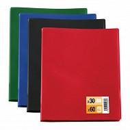 Protège documents a4 30 pochettes 60 vues coloris assortis