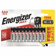 Energizer 20 piles Max AAA (lr03) 15+5 piles gratuites