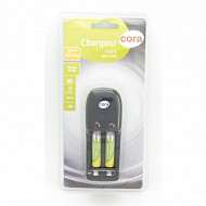 Cora chargeur mini + 2 piles rechargeables AAA 800 mAh 1.2V