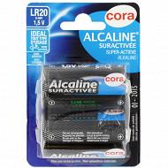 Cora 2 piles alcalines D  (LR20) suractivées