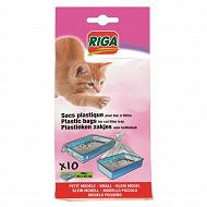 Riga 10 sachets plastiques bac à litière dim 32 x 45cm petit modèle