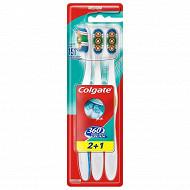Colgate 360 degrès brosse à dents médium x3