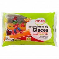 Cora kido assortiment de glaces goût orange, fraise, citron, cola 800 ml - 802g