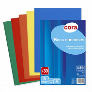 Cora lot de 30 sous-chemises 22 x 31 cm couleurs vives assorties