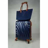 Lot trolley rigide 55 cm + sac shopping bleu
