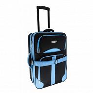 Trolley souple 49 cm 2 roues noir/bleu