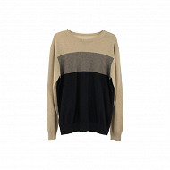 Pull manches longues homme BEIGE/ MARINE XXL