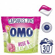 Omo lessive capsules 2en1 rose & lilas blanc 30 dosettes