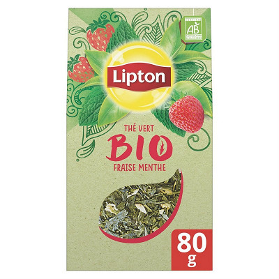 Lipton Lipton thé bio vert vrac fraise menthe 80g