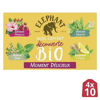 Elephant Eléphant coffret découverte infusions bio moment délicieux x40 62g