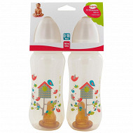 Lot de 2 biberons 360ml latex tree birds Cora