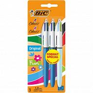 Bic stylo bille 4 couleurs médium x3 format spécial