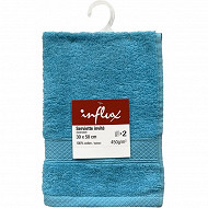 Lot de 2 serviettes invités 30x50 uni 450g turquoise