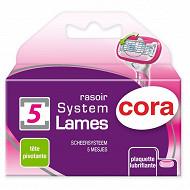 Cora recharges rasoir système féminin 5 lames x3