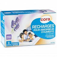 Cora 3 recharges d'absorbeur d'humidité parfum lavande 1kg