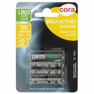 Cora 4 piles alcalines AAA (LR03) mega-activées