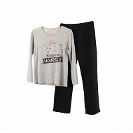 Pyjama long manches longues GRIS WILD T50/52