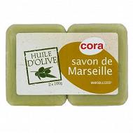 Cora savon de Marseille à l'huile d'olive 2x100g